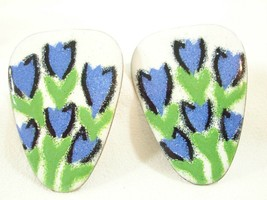 Vintage Blue Tulips Abstract Pierced Earrings Ceramic Metal White Green ... - $14.36