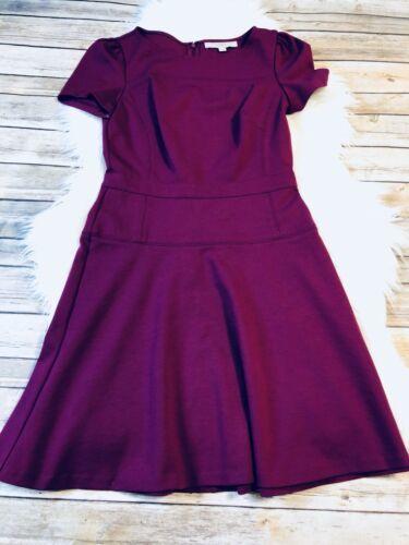 Ann Taylor LOFT Purple Puff Sleeve Flare Skirt Dress in Ponte Knit Size 0