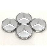 4X Mercedes Benz Center Caps Paint Silver Matte 3 Inch/75mm Fit C E S GL... - $18.80