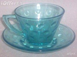 HAZEL ATLAS-- CAPRI SKOL GLASS CUP AND SAUCER - $8.95