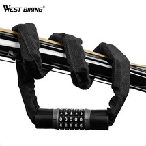 WEST BIKING Bicycle Lock 5 Password Bike Digital Chain Lock Security Out... - $28.65+