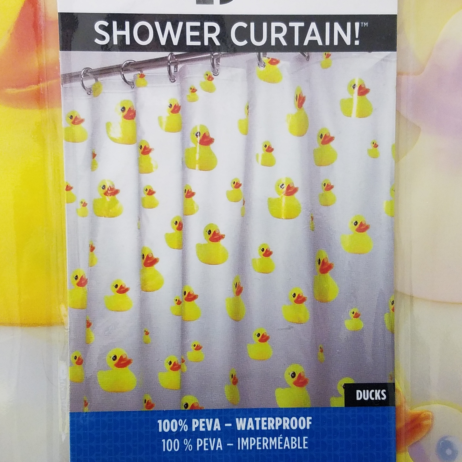 Rubber Duck Shower Curtain Plus Two Bath Rugs