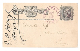 IA 1880 Iowa Falls Large Purple CDS Fancy Cancel Star in Circle - $14.95