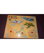 Puzzle Oceans Creature 1 Wooden Peg Tray Toddler Turtle Dolphin Whale Seal - $8.67