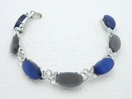 VTG Silver Tone Blue & Grey Thermoset Plastic Bracelet - $29.70