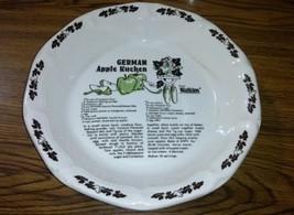 1983 Watkins GERMAN APPLE KUCHEN Collectible Recipe Pie Plate Baking Dis... - $8.42