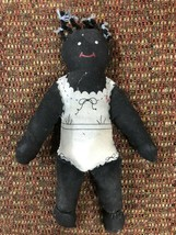 Vtg Black Polly Baby Doll Americana Handmade Cloth Doll - $23.36