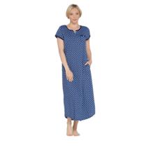 Carole Hochman Teardrop Leaves Cotton Jersey Long Gown M Navy Shelf Bra ... - $41.88