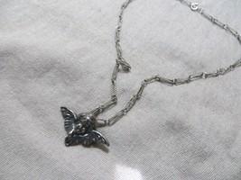 "Art Deco 30's Silver Metal Cherub Angel Brooch /Pendant Wire Links necklace 17"" - $49.99"