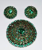 Gold Tone Green Rhinestone Wreath Dome Brooch Pin Earring Set Vintage - $89.09