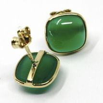 18K YELLOW GOLD BUTTON LOBE EARRINGS, CABOCHON SQUARE GREEN AGATE DIAMETER 9mm image 3