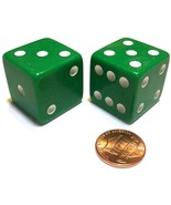 2x JUMBO Dice Six Sided D6 25mm Standard Square Edged Die GREEN With Whi... - $5.69