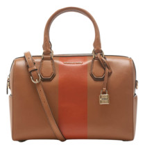 NEW MICHAEL KORS LEATHER CENTER STRIPE MERCER MEDIUM SATCHEL DUFFEL ACOR... - $340.92 CAD