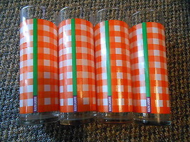 Lot Set 4 Preppy Ralph Lauren Tall Glasses Cups Tumblers Orange Plaid Gr... - $49.99