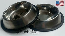 2 X Pet Food-Water Bowl-Dish-Cat-Dog-Anti-Skid-Rubber-Stainless Steel - $14.60