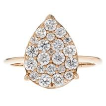 1.00ct Round Cut Diamonds 14k Rose Gold Tear Drop Ring Size 7 - £729.28 GBP