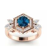 Floral 14K Rose Gold Over Wedding Blue Topaz 3.00ct Valentine Spl Gift F... - $47.51