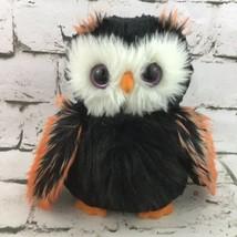 Owl Plush Black And Orange Purple Glitter Eyes Shaggy Soft Stuffed Anima... - $11.88