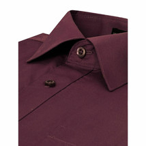 Omega Italy Men Burgundy Classic Fit Standard Cuff Solid Dress Shirt - XL image 2