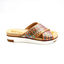 Sam Edelman Womens Audrea Slide Sandals Leather Flat Slip On Neutral Mul... - $44.54