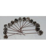 Wholesale lot 15 Pine Cones Snow Like White Tipped Plastic End Pics - $14.95