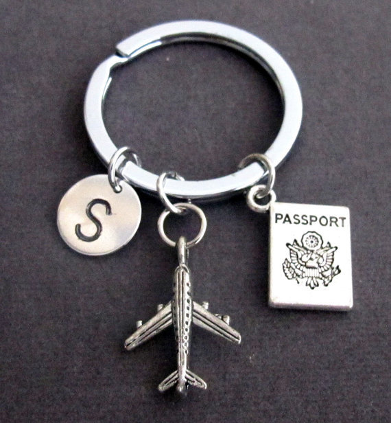 Primary image for Personalized Passport Traveling Document Airplane Keyring Keychain