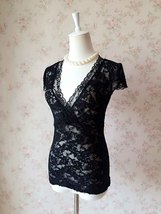 Sexy Black lace tops Deep V Black Lace Topper Plus Size Black Lace Tops image 5