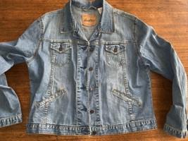 "Levi Strauss Signature SF Blue Button-Up Denim Jacket Size Large 21"" Across - $31.35"