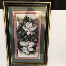Homco Home Interiors White Magnolias Leaves 14.5 x 22.5 Hangs either way... - $33.65
