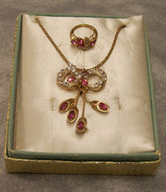 Vintage Pink & White Rhinestone Necklace Avon Ring Set - $16.82