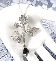 Rhinestone Necklace Figural Flower Black Glass Dangle Sterling Rope Chai... - $30.00