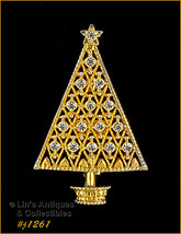 Eisenberg Ice Signed Christmas Tree Pin Clear Rhinestones Gold Tone (#J1... - $49.90 CAD