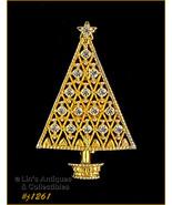 Eisenberg Ice Signed Christmas Tree Pin Clear Rhinestones Gold Tone (#J1... - $38.00