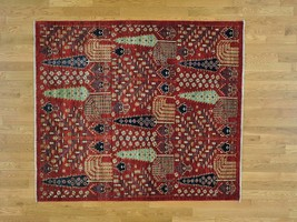 """5'4""""x6'1"""" Antiqued Willow and Cypress Tree Design Squarish Handmade Rug ... - $1,255.84"""