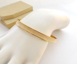 Retro Vintage Cream Off-White Enamel Gold Tone Mod Bangle Bracelet Q28 - $10.19