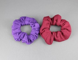 Purple Burgnd 2 jersey ponytail holder scrunchies hair elastic tie band ... - $3.68