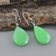 Green Chalcedony 925 Sterling Silver Teardrop Dangle Earrings Gift for W... - $17.99