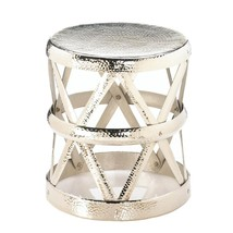 Foot Stool, Hammered Drum Decorative Garden Metal Portable Outdoor Round... - $149.99