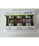 Cuisinart Magnetic Grilling Barbeque Spice Jar Set 3 Piece Stainless Ste... - $25.99