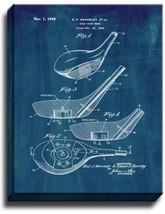 Golf Club Head Patent Print Midnight Blue on Canvas - $39.95+