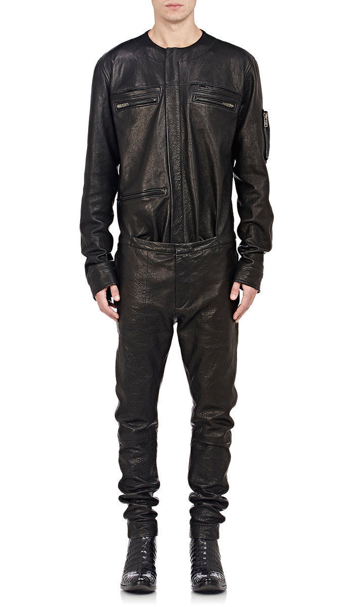 New Stylish Collar less Two Chest Pocket Men's Genuine pure Leather Jumpsuit