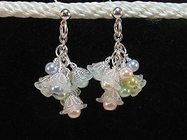 Flower Cluster Earrings Wedding Summer Baby Petite blue and pink and green HC - $9.90
