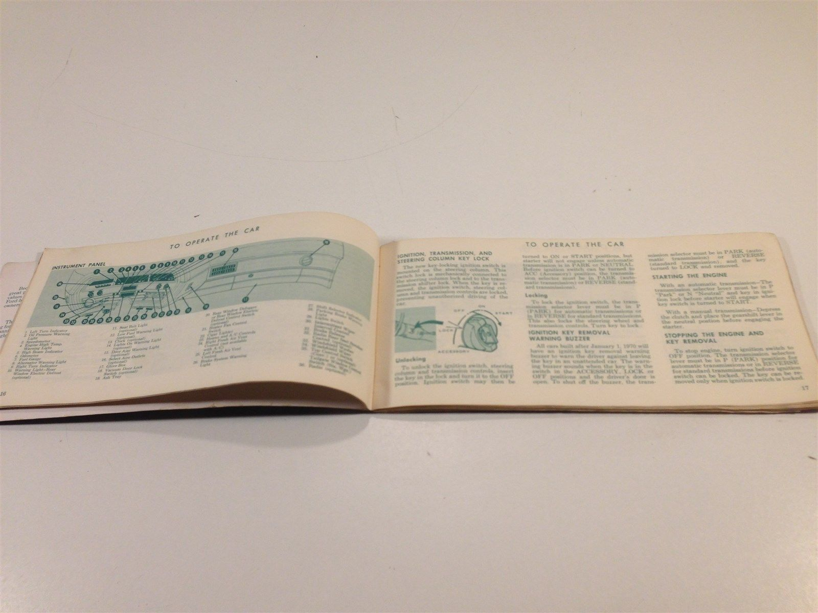 1970 Ford Car Owner's Manual Glovebox Original