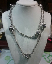 "Vintage Jewelry: 34"" Silver Tone Necklace 17011817 - $9.89"