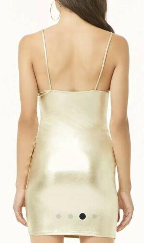 Forever 21 Shiny Liquid Gold Metallic Cami Mini Dress M NEW image 4