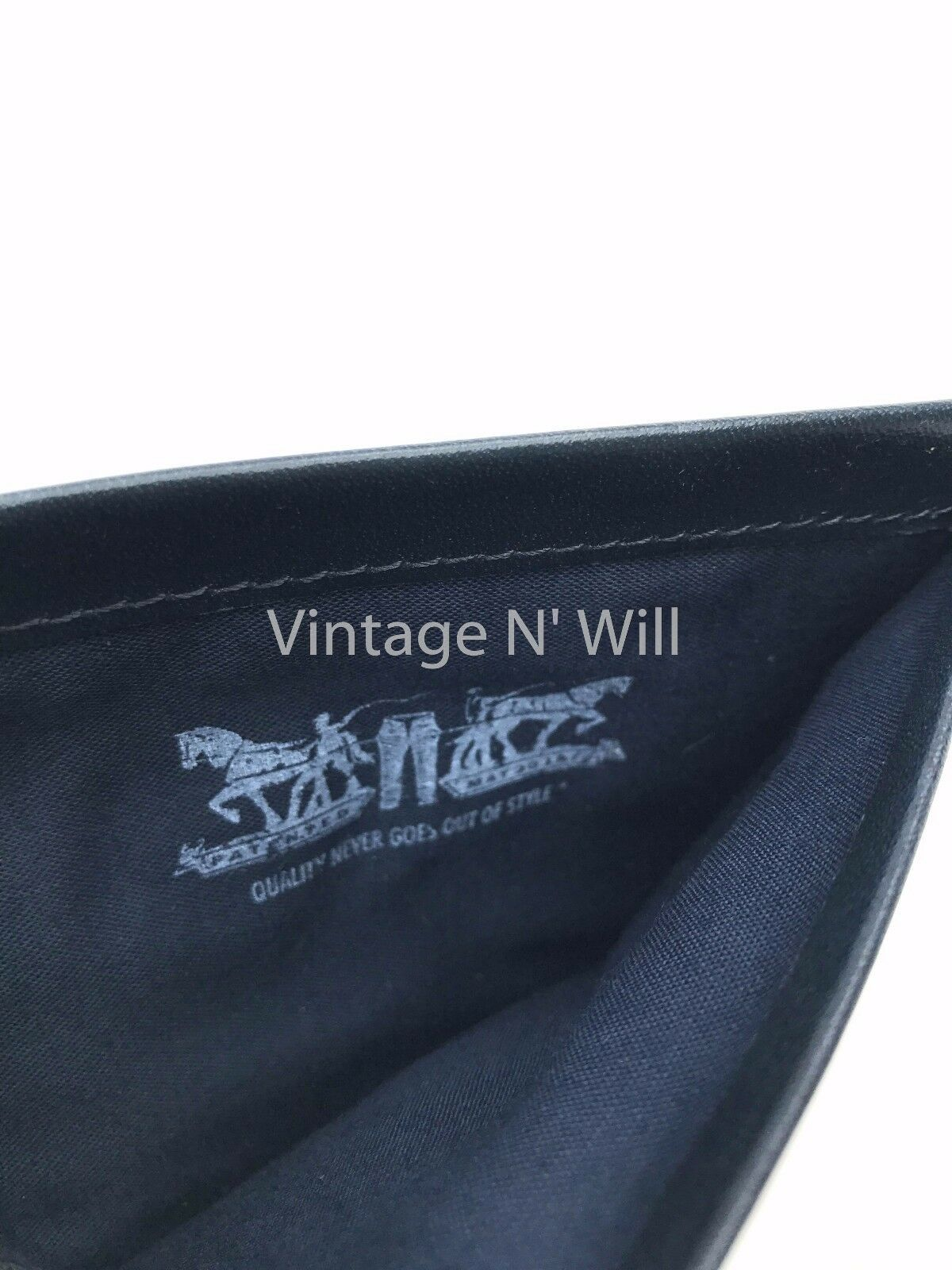 Levis Jeans Mens 511 Slim Navy Blue Genuine Leather Wallet Billfold Bifold Card image 9