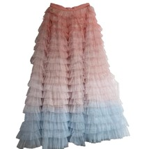 Women Maxi Tiered Tulle Skirt Outfit Plus Size Pink Blue Romantic Party Outfit image 4