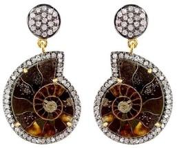 Ammonite Gemstone 14k Gold Pave Diamond Dangle Earrings 925 Silver Vinta... - $700.83