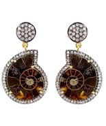 Ammonite Gemstone 14k Gold Pave Diamond Dangle Earrings 925 Silver Vintage Style - $700.83