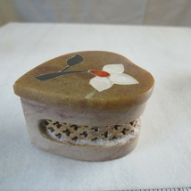 2 Inch Handmade Soapstone Heart Shaped Box Hand-Carved India MOP Agate Jet - $34.64